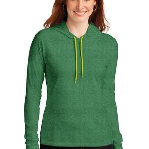 Ladies 100% Ring Spun Cotton Long Sleeve Hooded T Shirt Thumbnail